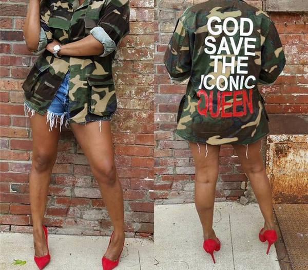 Kadın Kamuflaj Ceket Tasarımcı Harf Baskılı Hiphop Coat Bayan Moda Casual Dış Giyim