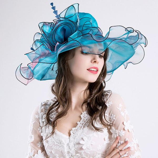 Sommer Hüte für Frauen UV Beweis Silk Sommer Hut Große Krempe Blume Sonnenhut Damen Faltbare Strand Reise Party 2019