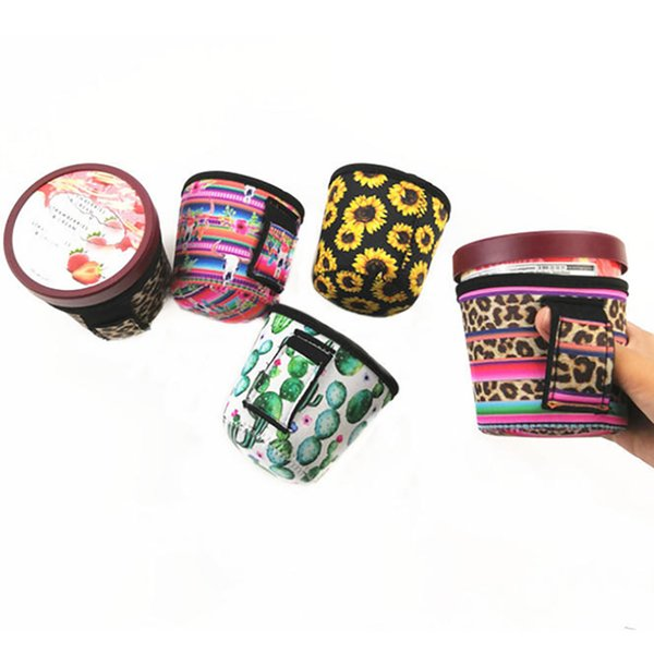 New Neoprene Ice Cream Cover Case Leopard Print Sunflower Can Cooler Covers Cactus Lolly Bags Ice Cream Holder Tools Pouch HH9-2238