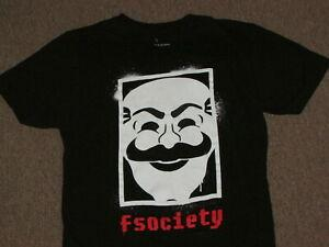 Mr. Robot Mens Black Fsociety Obey Look Computer Hacker Graphic T Shirt S small