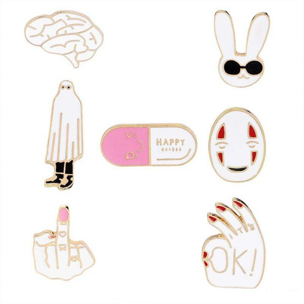 New Creative capsule rabbit brain OK gesture middle finger mask fun brooch clothing pin backpack jewelry
