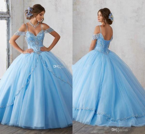 2019 Lumière Blue Sky robe de bal Quinceanera mancherons Spaghetti perles de cristal princesse de bal Robes de soirée Sweet 16 filles