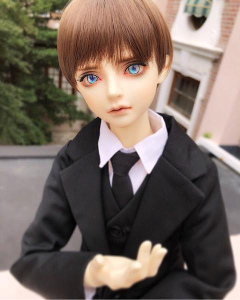 D01-P299 children handmade toy 1/3 1/4 uncle Doll Accessories BJD/SD doll Black suit coat vest trousers set of 3pcs/set