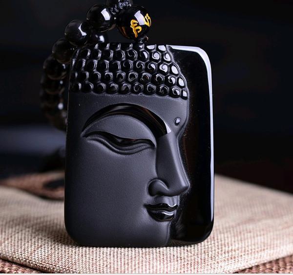 Природный обсидиан Гуаньинь Будда Подвеска Men039; s Wear Гуаньиньте Women039; s Dai Будда Пар Ожерелье Ветер Национального n0210
