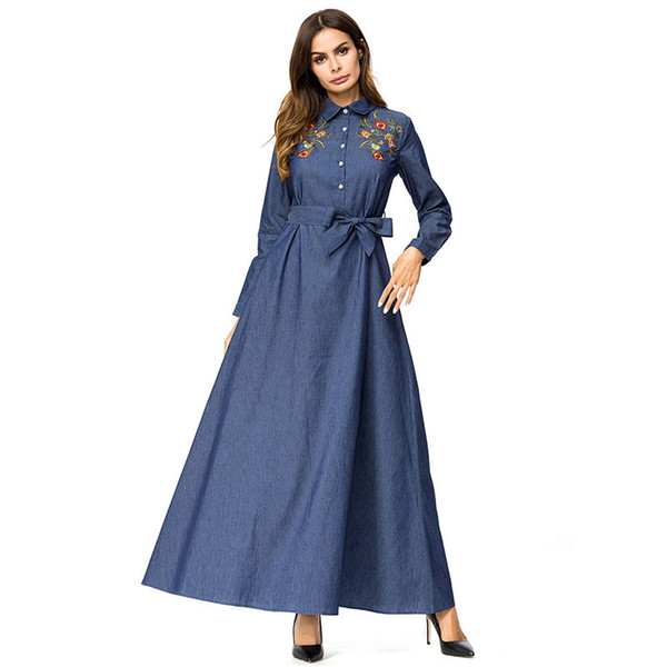 95c3ce4f460 Elegant Womens Shirt Dress Denim lapel Long Sleeve Single-breasted Chic  Floral Embroidery Maxi Dresses