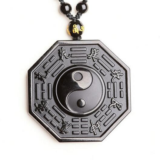 Natural Obsidian Necklace Pendant Lucky Amulet Chinese Style Men's and Women's Jewelry Feng Shui Energy Stone Healing Reiki Gift