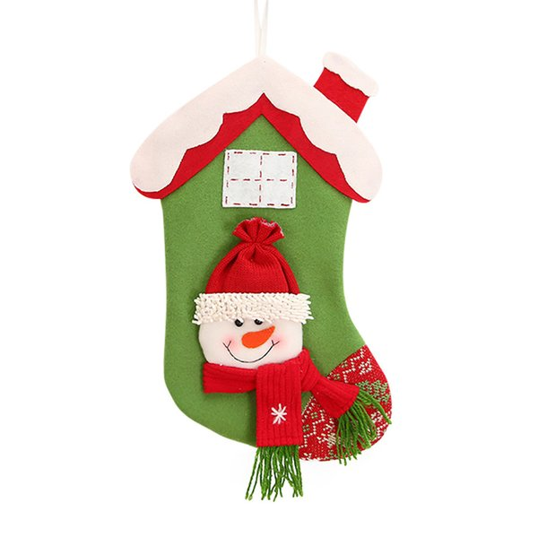 2018 Year Merry Christmas Gift Bags Christmas Stocking Candy Beads Santa Claus Snowman Socks Decorations For Home