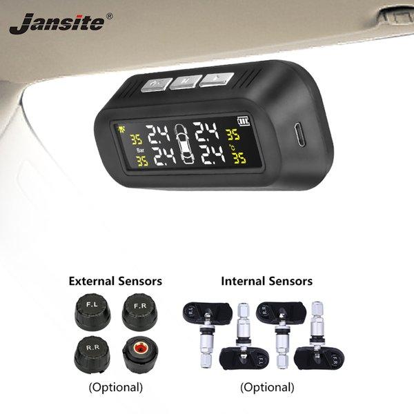 Jansite solar TPMS neumático del coche de la alarma de presión del sistema monitor de pantalla conectado al vidrio tpms aviso de la temperatura con 4 sensores BAR