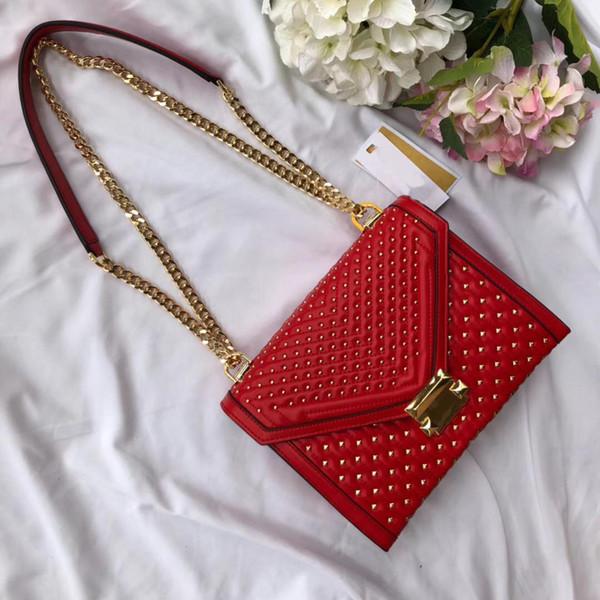 Cor vermelha brilhante genuína diamante lattice couro fósforo pequeno prego e corrente de metal elegante bonito das mulheres sacos de ombro cross corpo sacos