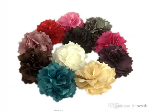 camellia rose flower hair clips Satin silk chiffon flowers hair clip,Brooch TO528
