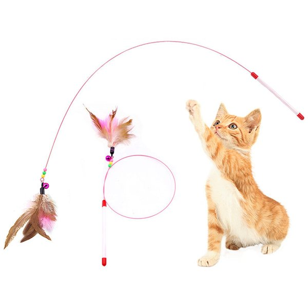 top popular Funny Feather Kitten Cat Toy Steel Wire Feather Teaser Bell Bead Play Pet Wand Teasing Cat Sticks Interactive 2021