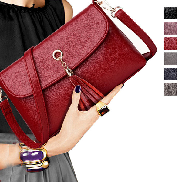 Yonder genuine leather bags women's shoulder crossbody bag ladies small tote messenger bag female handbag high quality wine/gray