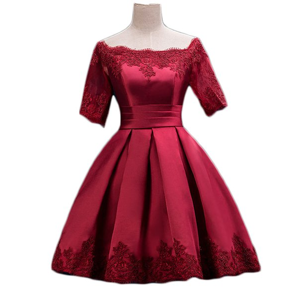 wholesale Burgundy Prom Dresses With Lace Appliques Knee-length Short Sleeves Formal Party Prom Dress Robe De Soiree