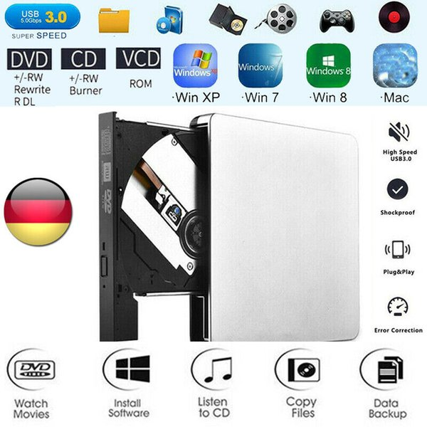 USB 3.0 Blu-Ray-DVD-CD-Brenner DVD-RW-Laufwerk Laufwerk Externe USB NEU für Dell Mac
