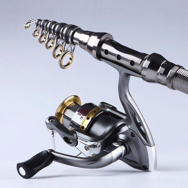 1.5m-2.4m fishing rod combo full kit travel spinning telescopic fishing reel set with line lures hooks thumbnail