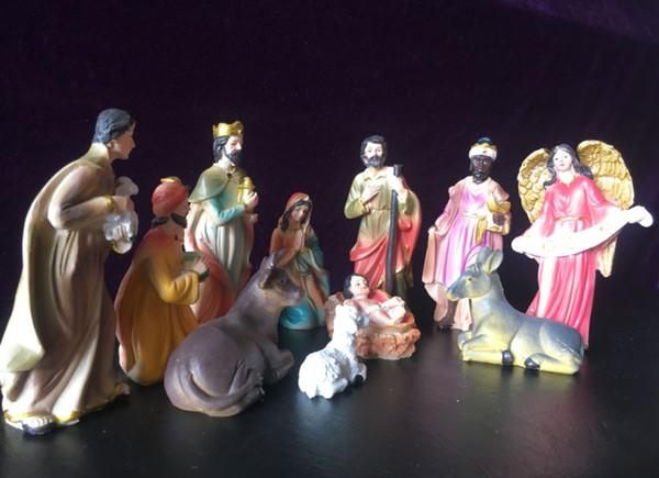 3.8 12.8cm Avrupa tarzı butik Reçine El yapımı Noel Nativity Sahne heykelcik Sanat Ev Süsleme Yılbaşı Hediyeleri