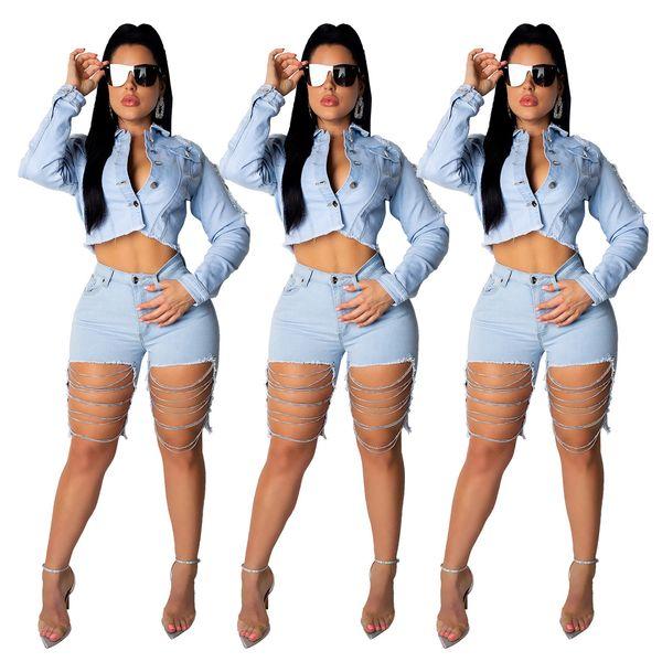 Cowboy-Anzug 2-teilig Frau gesetzt Backless Top Loch Kette Sexy Mode Reine Farbe Frauen Kleidung 2019 Sommer Europäische USA Heißer Verkauf