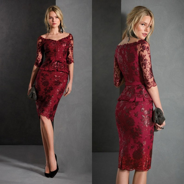 Dark Red Mother Of Bride Dresses Sheath Half Sleeves Lace Applique Formal  Evening Gowns Knee Length Plus Size Prom Dresses Plus Size Mother Of The ...