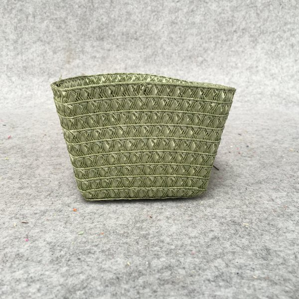 Simple and environment-friendly rattan grass woven plastic table top without cover storage finishing storage basket