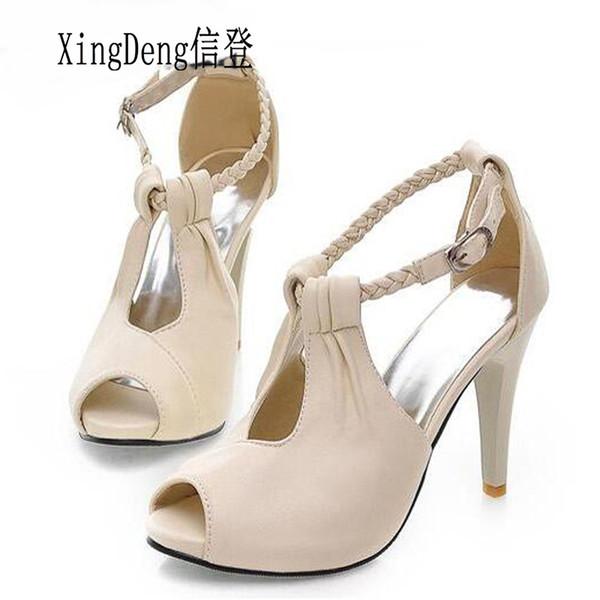 Großhandel neue sexy Frauen High Heels Sommer Sandalen Schuhe Mode Knöchelriemen Peep Toe Sandalen Schuhe plus Größe