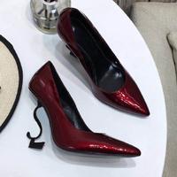 Black Heel Dark Red Shiny Leather