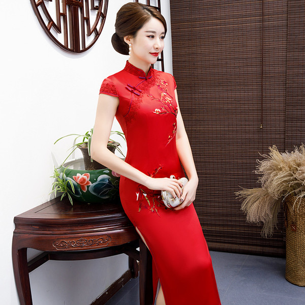 2019 vintage elegant high quality plus size short sleeve red embroidery silk-like long cheongsam wedding dress evening dress party dress