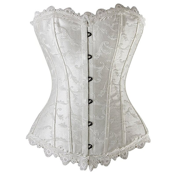 Women Corsets Sexy Black Gothic Underwear White Vintage Solid Lace Up Female Fashion Summer 2019 Hot Sale Bustiers Intimates