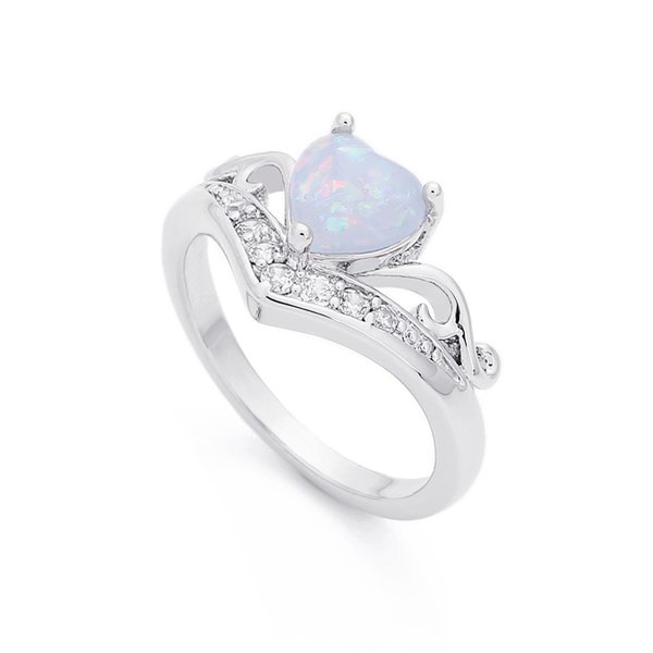 New Fashion Charm Crystal Rings Love Heart Shaped Fire Opal Rings Jewelry Silver Color Wedding Engagement for Women Gift
