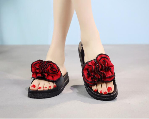 2019 highquaity New Type Open Toe Slippers Female Summer Muffin Cake Slippers Big Flower Home Thick Bottom Beauty Sandals Female