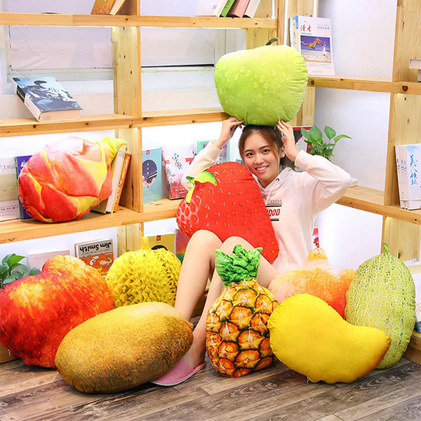 Simulation Fruit Vegetable Pillow Pad Vegetable Filled Doll Potato Broccoli Pea Strawberry Apple Durian Plush Toy Creative House