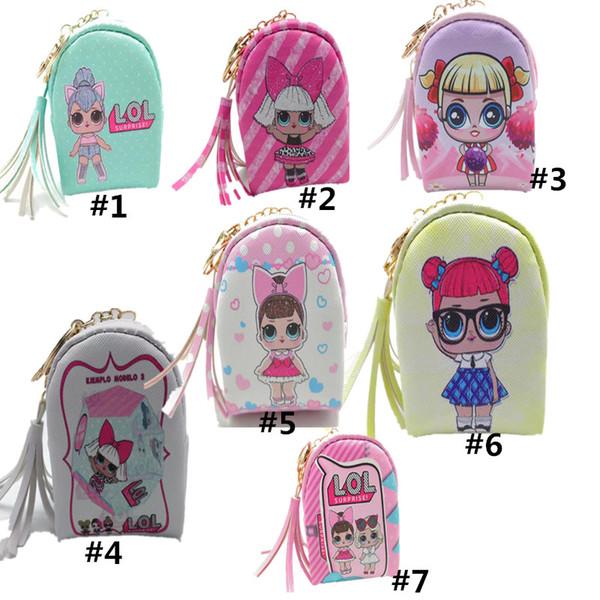 Sürpriz Kızlar Sikke çanta Çanta Baskılı Püskül Cüzdan Çanta Çanta Tasarımcısı Çanta Kız Prenses Mini Karikatür PU çanta 7 Renk 10 * 8 * 5 cm C51702
