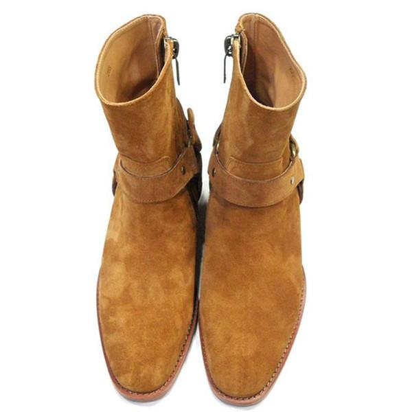 Botas de tobillo de moda para hombre zapatos de punta estrecha hebilla hombres botas de cuero marrón de los hombres zapatos de vestir zapatos Botas Militares hombres
