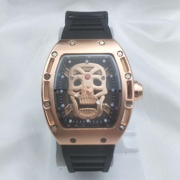 Cool Skull Brand Relojes Correa de silicona impermeable Estudiantes Relojes de moda Relojes de pulsera Relojes de cuarzo para hombres de negocios