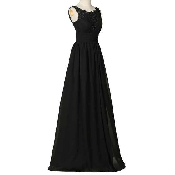 Black Chiffon Lace Pageant Evening Dresses Women's A Line Bridal Gown Special Occasion Prom Bridesmaid Party Dress 17LF436