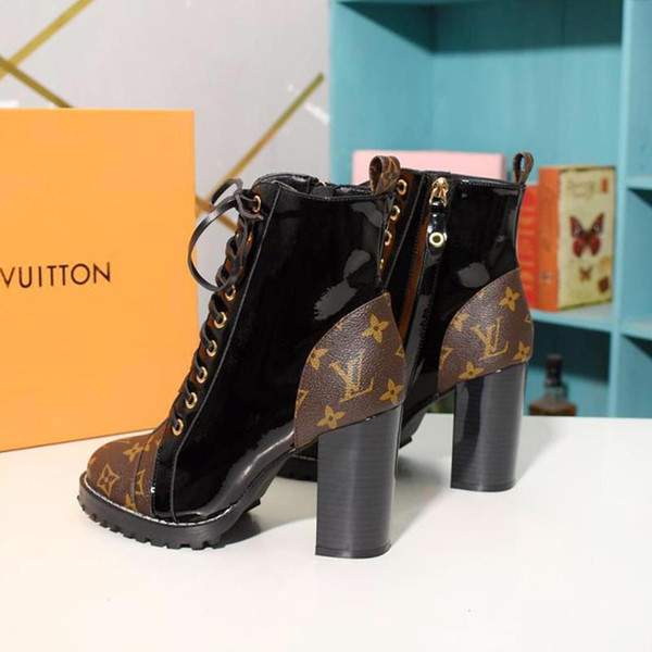 люксдизайнерLV Женщины Роскошные кожаные сапоги Star Trail голеностопного Загрузочный Коренастый пятки Люкс Стиль Женская обувь Bottes Femmes с коробкой Com