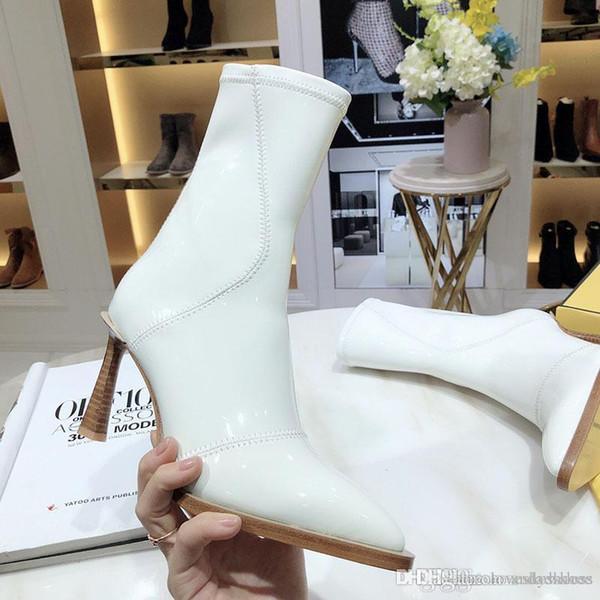 2020 Мода Роскошные женские зимние сапоги белые глянцевые неопрен короткие пятки ботильоны кожаные Дно боевые сапоги женские размер 35-41