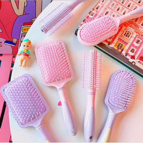 Gasbag masaj saç fırçası tarak Kız Pembe hava yastığı tarak antistatik uzun saç curling saç kuaför tarak simplefast
