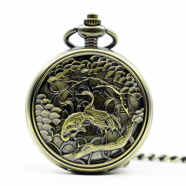 Antique Squelette Grue Oiseau Conception Montre De Poche Mécanique Hommes Steampunk Mécanique Fob Montres Horloge Pendentif Hommes Montre PJX1279