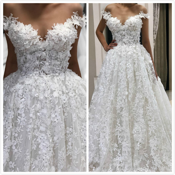 Discount 2019 Arabic Lace Sexy Vintage Wedding Dresses Beaded