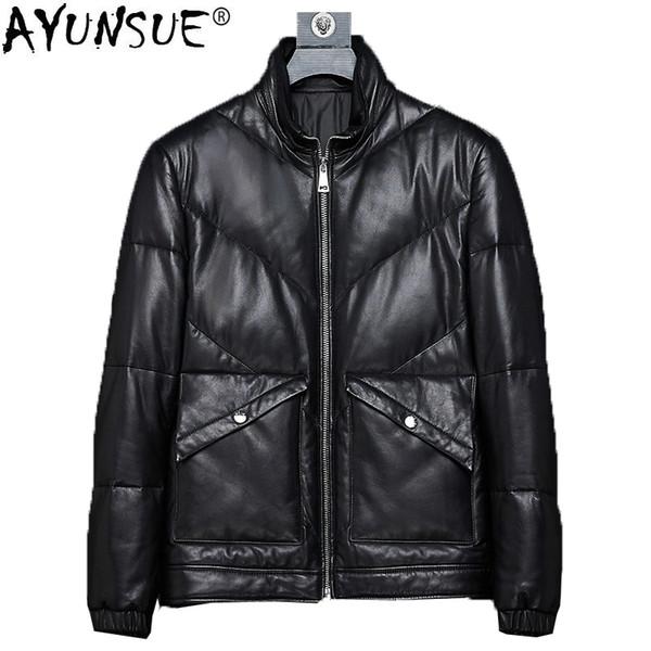AYUNSUE Hakiki Deri Ceket Erkekler Kore Kış Ördek Aşağı Ceket Erkekler Koyun Derisi Ceket Kısa Sıcak Blouson Cuir Homme KJ1376