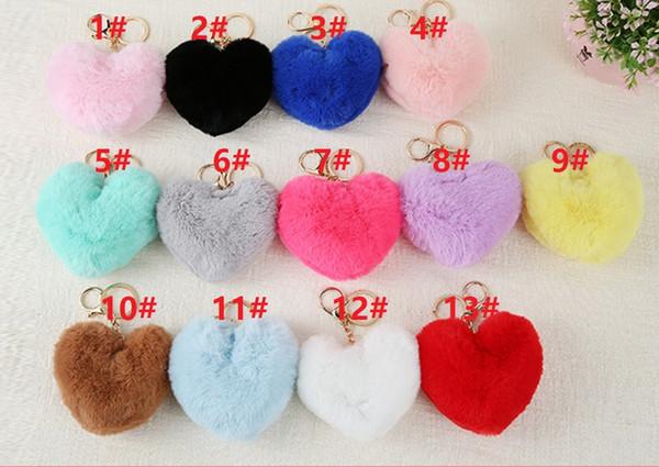 13 Renkler Yeni İmitasyon Tavşan Kürk kalp şeklinde Kolye moda Kürk Saç Top Çanta Anahtarlık Cep Telefonu Takı Süsler hediyeler HYS60