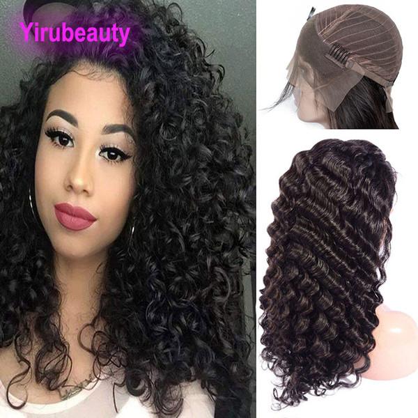 Brasilianisches reines Haar Lace Front Perücken tiefe Welle Pre gezupft natürlichen Haaransatz 8-30 Zoll Echthaar Lace Front Perücke mit dem Babyhaar Remy lockig