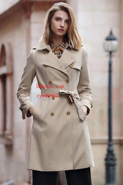 Kadın siper klasik Slim fit kemer moda Eğlence İngiliz orta uzun trençkot yüksek kaliteli kadın giyim B-1