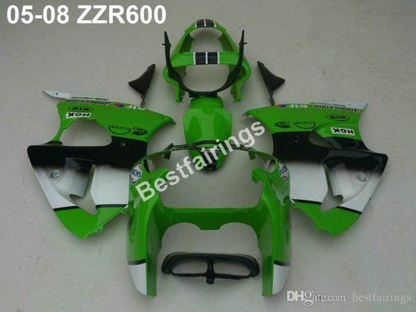 New hot injection mold fairing kit for Kawasaki ZZR600 05 06 07 08 green white fairings set ZZR 600 2005-2008 ZV35