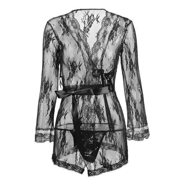 3 Colors S M L XL XXL Sexy Lingerie Hot Women Deep V Perspective Sexy Lace Dress Sexy Underwear Sheer Robe Plus Size Lingerie