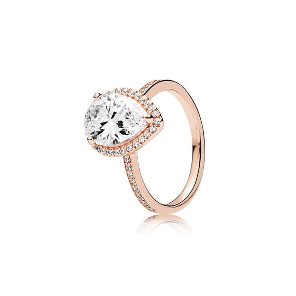 Real 925 Sterling Silver Tear drop CZ Diamond RING con LOGO e scatola originale Fit Pandora oro rosa anello di fidanzamento