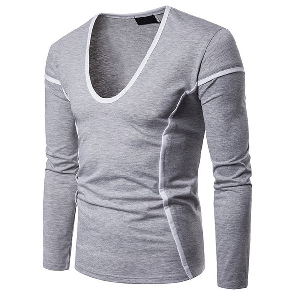 Men's autumn and winter new solid color color matching edging long-sleeved T-shirt men's Korean version of the round neck thin s