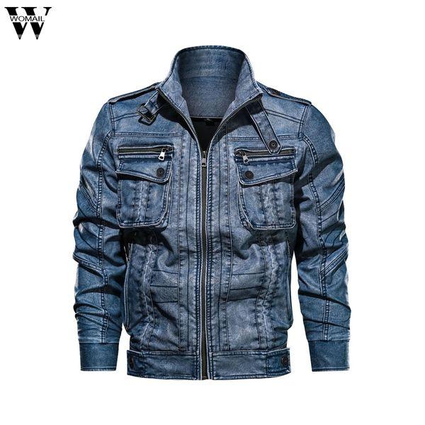 Chaquetas Hombres Invierno Cálido Motocicleta Vintage Streetwear Chaqueta de cuero Multi-bolsillo Outwear impermeable Casual PU Chaqueta Abrigo 730