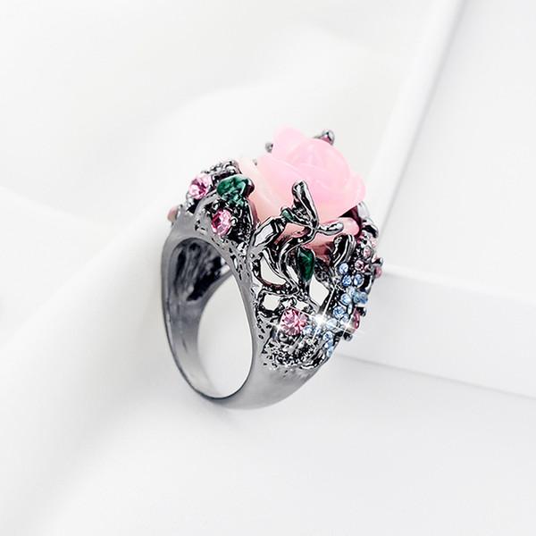 Mode Alliage Anneau Pivoine Rose Fleur Arbre Vigne Lézard À La Main Bijoux Résine Cristal Perlé Coloré Arc-En-Anneau