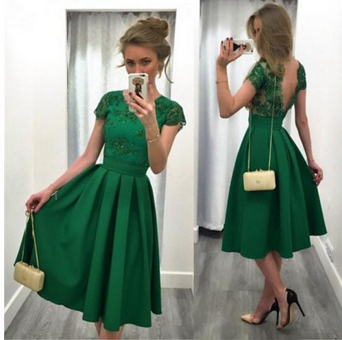 Emerald Green Knee Length Cocktail Prom Dress 2019 Bateau Cap Short Sleeves Lace V backless Cheap Homecoming Party Dress Cheap